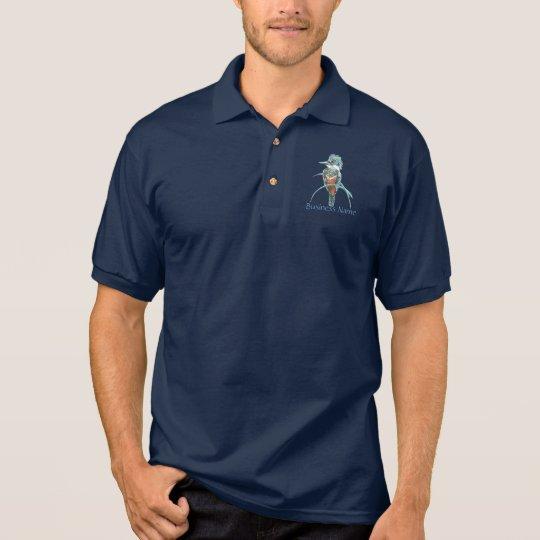 Custom logo, Watercolor Kingfisher Bird Business Polo Shirt