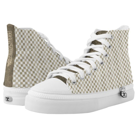 Custom Louis Vuitton style High Top Printed Shoes