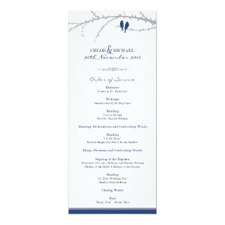 Custom Love Birds Order of Service (navy) 10 Cm X 24 Cm Invitation Card
