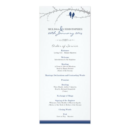 Custom Love Birds Order of Service (navy) Card