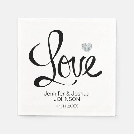 Custom LOVE Diamond Heart Black White Wedding Disposable