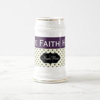 Custom Love Faith Hope Acai Violet Polka Dots 18 Oz Beer Stein