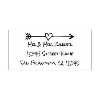 Custom love heart arrow self inking address stamp