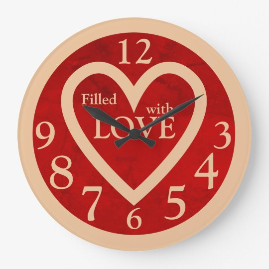 Custom Love Heart Kitchen Wall Clock Red Marble
