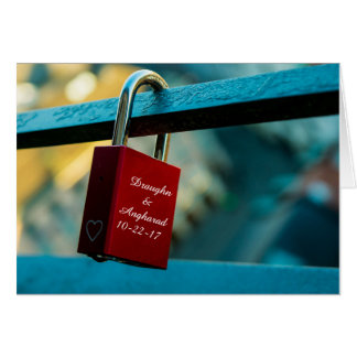 "Custom ""Love Lock"" Padlock Relationship Card"