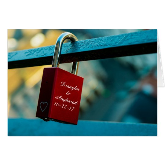 "Custom ""Love Lock"" Padlock Relationship Card"