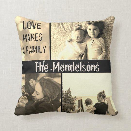 Custom love makes a family photo collage cushion