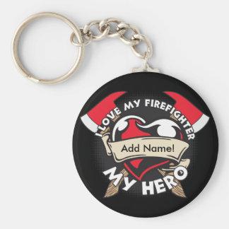 Custom Love My Firefighter Key Ring