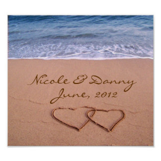 Custom Love on the Beach Poster with date