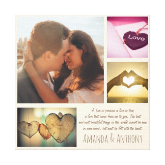 Custom love poem and photo collage canvas print