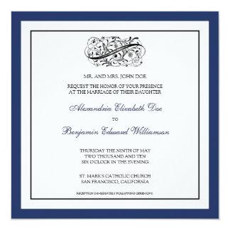 "::custom_luba:: Simply Elegant Wedding Invitation 5.25"" Square Invitation Card"