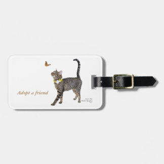 custom luggage tag featuring Tabatha, the Tabby