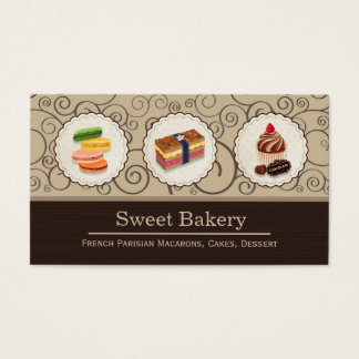 Custom Macaron Chocolate Cupcake Bakery Store Business Card