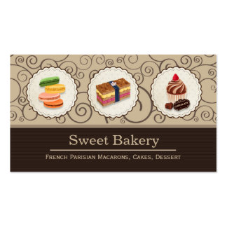Custom Macaron Chocolate Cupcake Bakery Store Pack Of Standard Business Cards