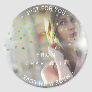 Custom Made with Love For You Photo Cloves Bubble Round Sticker