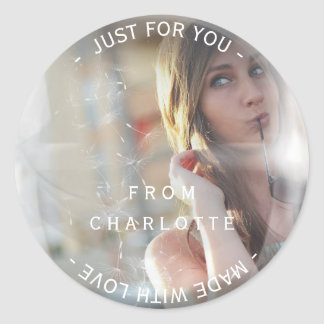 Custom Made with Love For You Photo Dandelion Classic Round Sticker