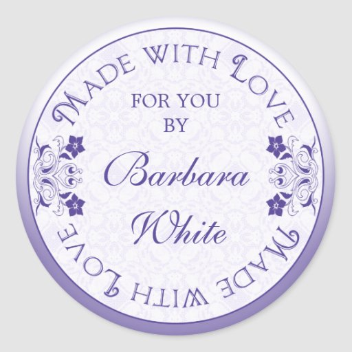 Custom Made with Love Stickers Labels Gift Tags