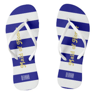 Custom Maid of Honor Flip Flops - Navy Blue