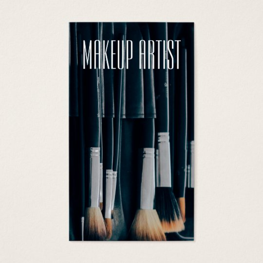 Custom Makeup Artist with Brushes in Background Business Card
