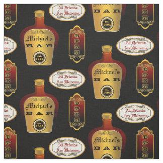 Custom Man Cave Liquor Bottle Bar Open Pattern Fabric