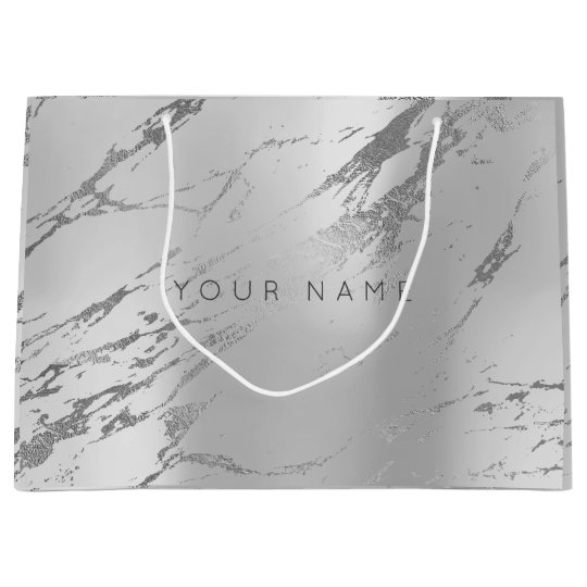Custom Marble Gray Monoch Metallic Abstract Silver Large