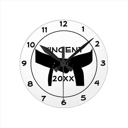 Custom Martial Arts Black Belt Round Clock
