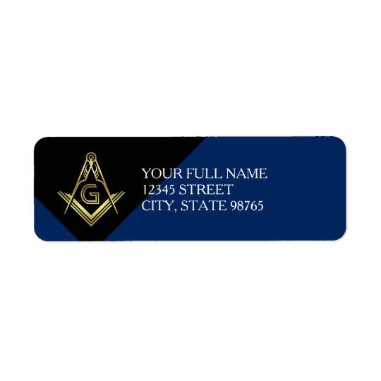 Custom Masonic Return Address Labels   Blue & Gold