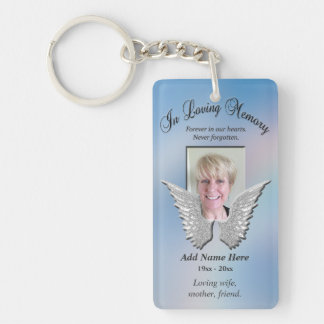 Custom Memorial Angel Wings Add Photo Double-Sided Rectangular Acrylic Key Ring