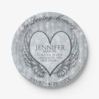 Custom Memorial Template Heart Wings Paper Plate