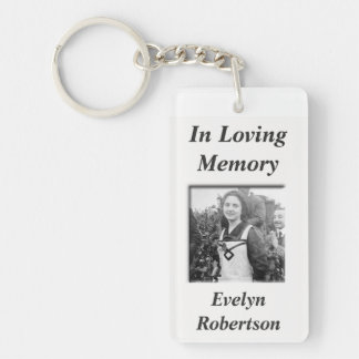 Custom Memorial w/Photo Double-Sided Rectangular Acrylic Key Ring