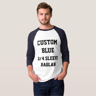 Custom Men's NAVY 3/4 SLEEVE RAGLAN T-SHIRT
