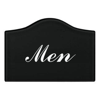 Custom mens room door sign for restroom washroom
