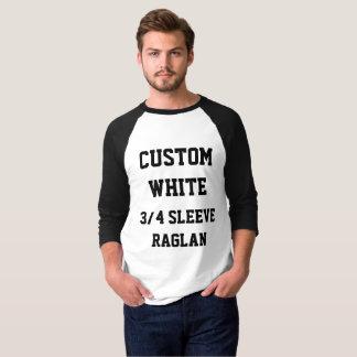 Custom Men's WHITE 3/4 SLEEVE RAGLAN T-SHIRT