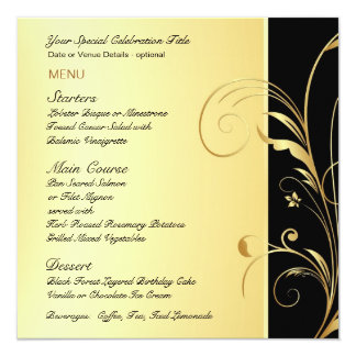 Custom Menu Card for Birthday or Anniversary Party