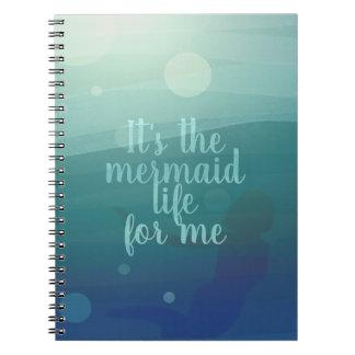 Custom Mermaid Life Quote Aqua Watercolor Notebook