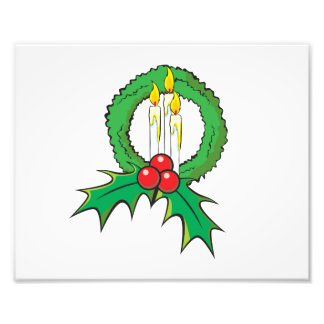 Custom Merry Christmas Candle Wreath Invitations Art Photo