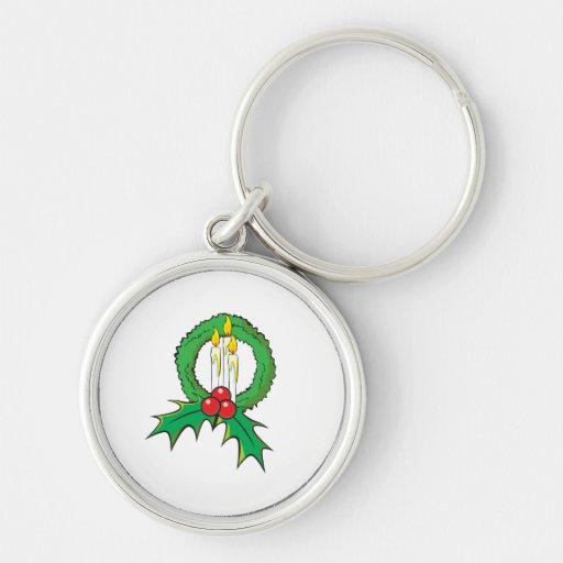 Custom Merry Christmas Candle Wreath Sticker Bags Keychains