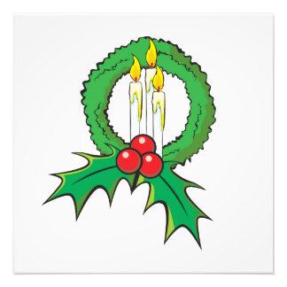 Custom Merry Christmas Candle Wreath Wrapper Mugs Photo Art