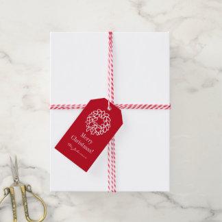 Custom Merry Christmas gift tags with xmas wreath