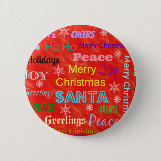 Custom Merry Christmas Holiday Pinback Buttons