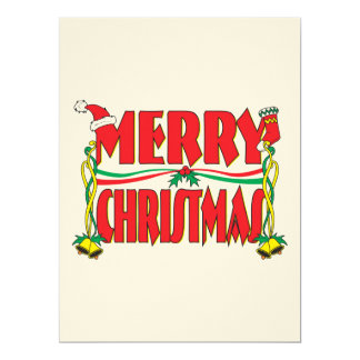 "Custom Merry Christmas Invitation Card Stamp Label 6.5"" X 8.75"" Invitation Card"