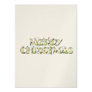 """Custom Merry Christmas Lights Invitations Postage 6.5"""" X 8.75"""" Invitation Card"""