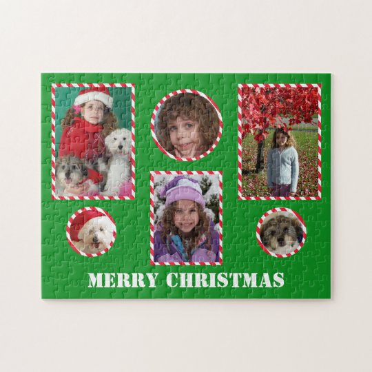 Custom Merry Christmas Photo Jigsaw Collage Puzzle