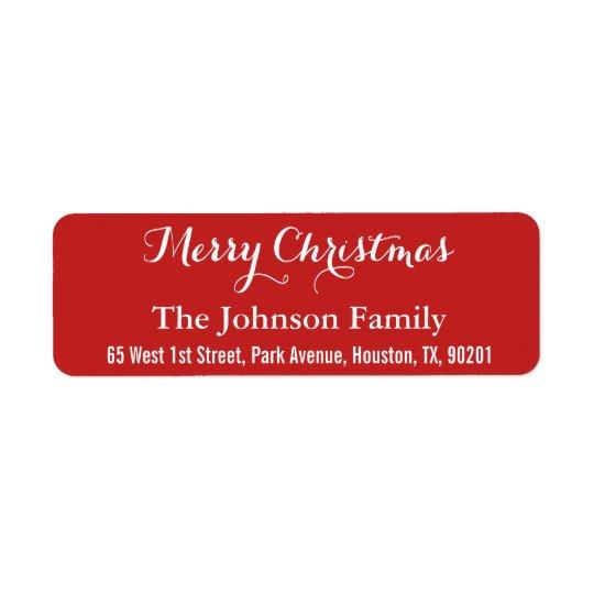 Custom Merry Christmas Red Elegant Return Address