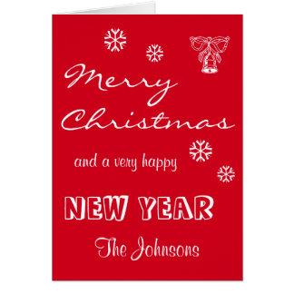 Custom Merry Christmas Red Greeting Card