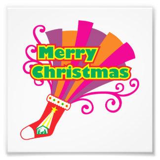 Custom Merry Christmas Red Stocking Invitations Photo Print