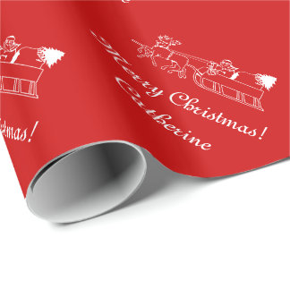 Custom Merry Christmas santa sleigh wrapping paper