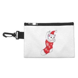 Custom Merry Christmas White Kitten Cat Red Sock Accessory Bag
