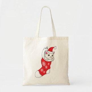 Custom Merry Christmas White Kitten Cat Red Sock Bag