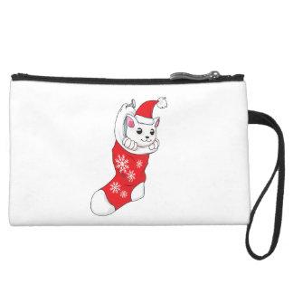 Custom Merry Christmas White Kitten Cat Red Sock Wristlet Clutch